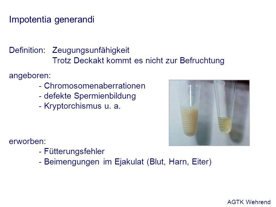 Impotentia generandi Definition: Zeugungsunfähigkeit Trotz Deckakt kommt es nicht zur Befruchtung angeboren: - Chromosomenaberrationen - defekte Spermienbildung - Kryptorchismus u.