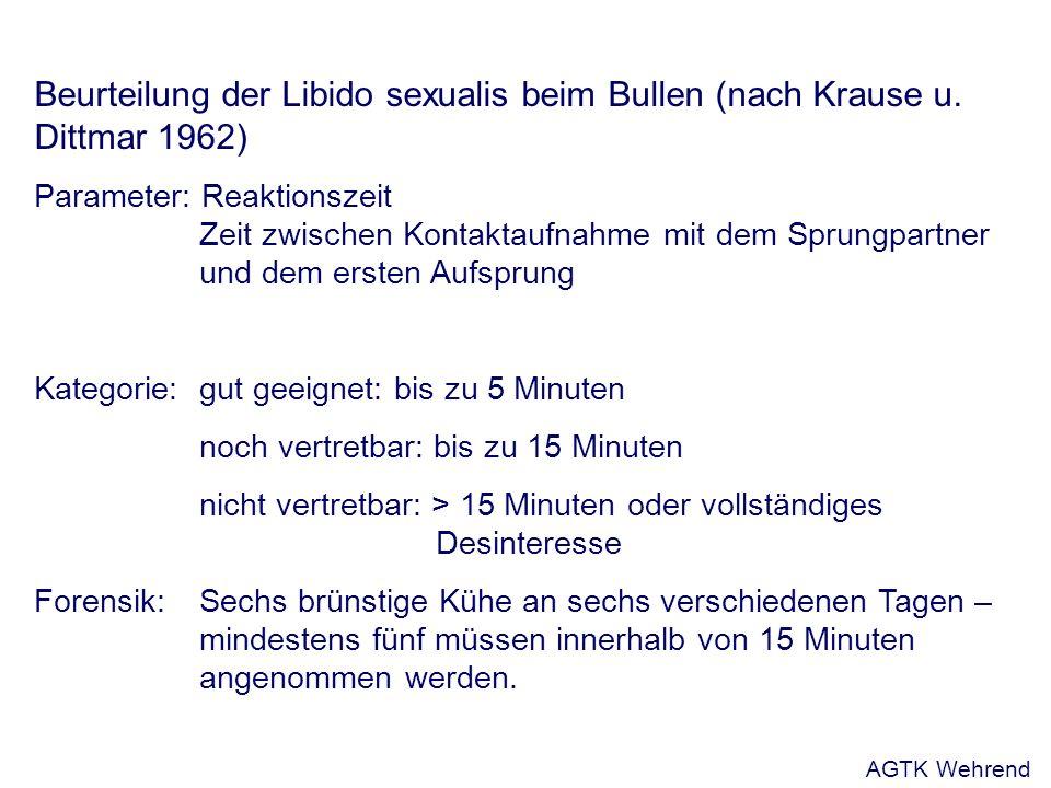Beurteilung der Libido sexualis beim Bullen (nach Krause u.