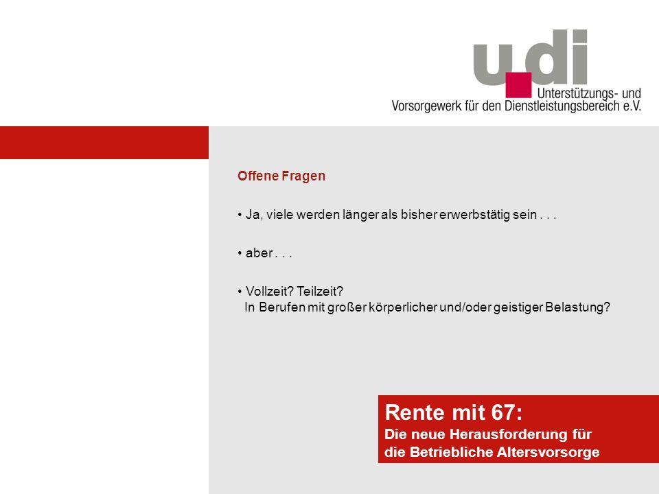 Potsdamer Forum Rente mit 67: Die neue Herausforderung für die Betriebliche Altersvorsorge Auswirkungen auf die Rente Gesetz.
