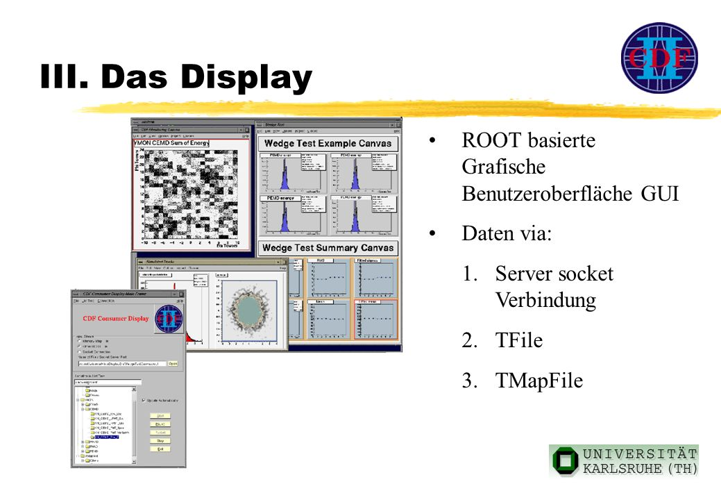 III. Das Display ROOT basierte Grafische Benutzeroberfläche GUI Daten via: 1.Server socket Verbindung 2.TFile 3.TMapFile