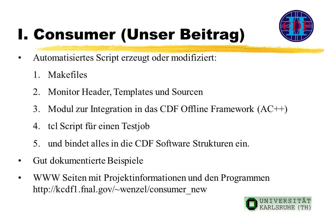 I. Consumer (Unser Beitrag) Automatisiertes Script erzeugt oder modifiziert: 1.Makefiles 2.Monitor Header, Templates und Sourcen 3.Modul zur Integrati