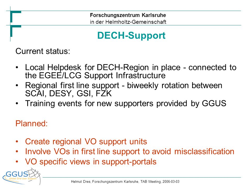 Forschungszentrum Karlsruhe in der Helmholtz-Gemeinschaft Helmut Dres, Forschungszentrum Karlsruhe, TAB Meeting, 2006-03-03 Current status: Local Help