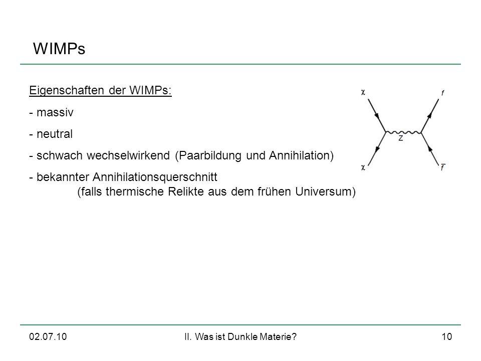 02.07.10II. Was ist Dunkle Materie?10 WIMPs Eigenschaften der WIMPs: - massiv - neutral - schwach wechselwirkend (Paarbildung und Annihilation) - beka