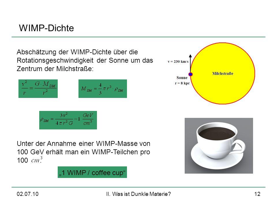 02.07.10II. Was ist Dunkle Materie?12 WIMP-Dichte Abschätzung der WIMP-Dichte über die Rotationsgeschwindigkeit der Sonne um das Zentrum der Milchstra