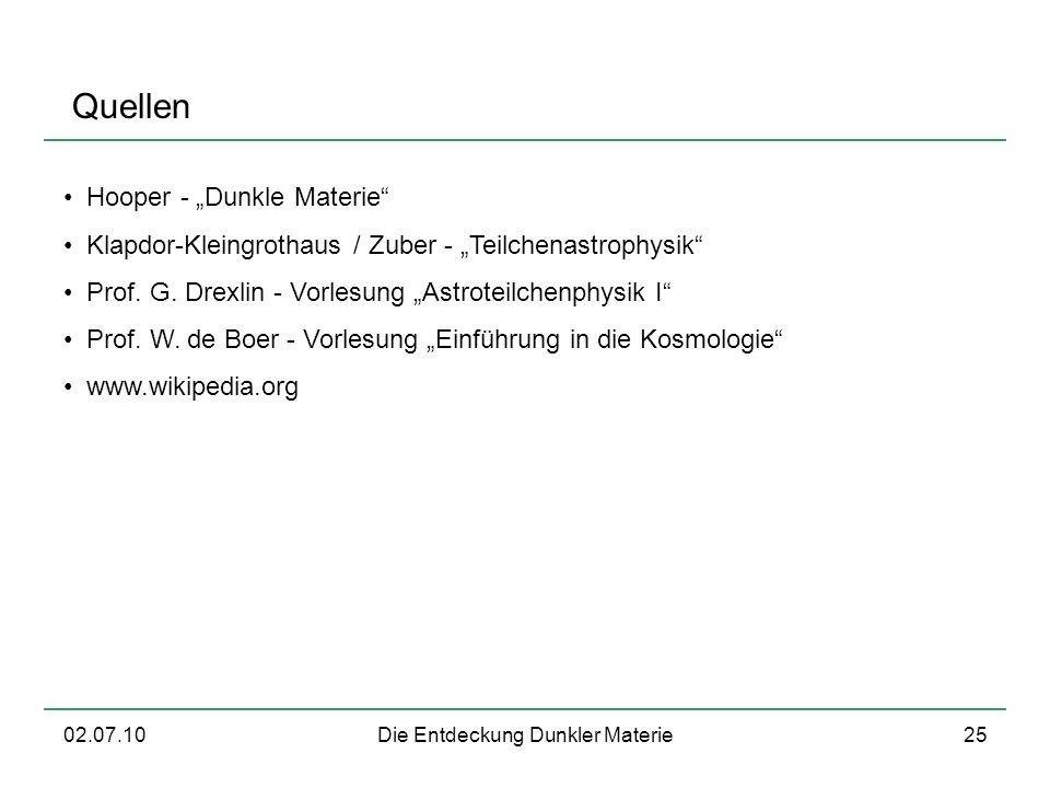 02.07.10Die Entdeckung Dunkler Materie25 Quellen Hooper - Dunkle Materie Klapdor-Kleingrothaus / Zuber - Teilchenastrophysik Prof. G. Drexlin - Vorles