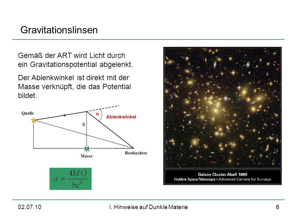 02.07.10I. Hinweise auf Dunkle Materie6 Gravitationslinsen Gemäß der ART wird Licht durch ein Gravitationspotential abgelenkt. Der Ablenkwinkel ist di
