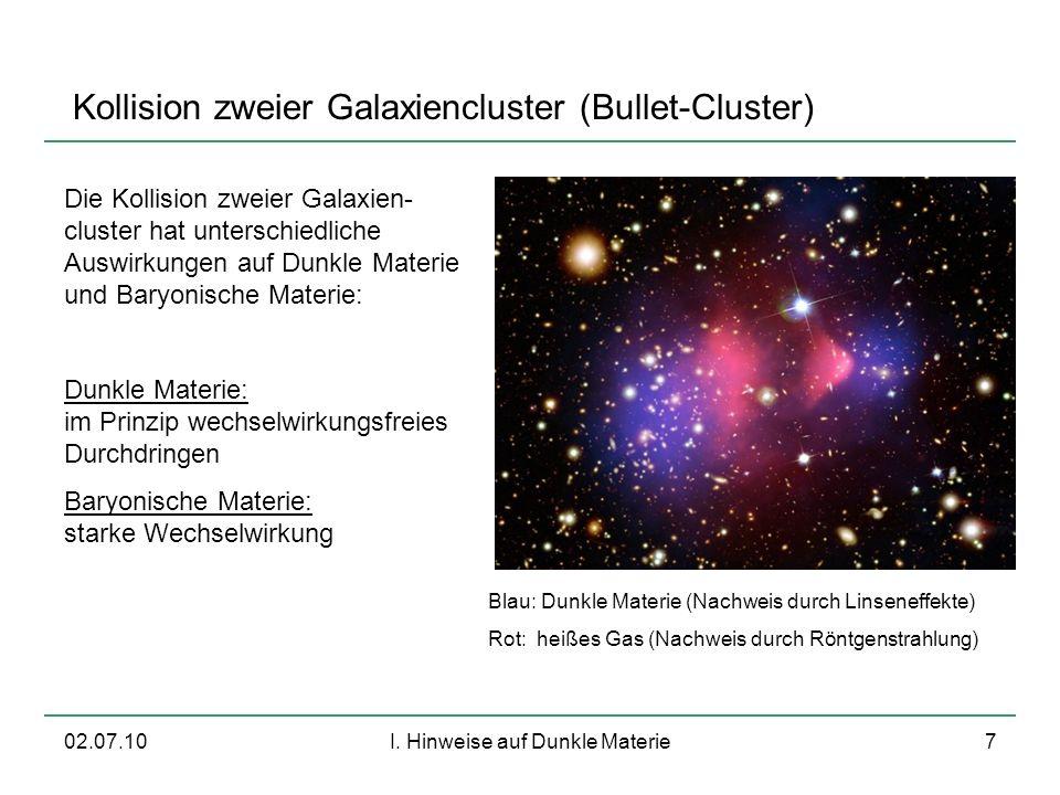 02.07.10I. Hinweise auf Dunkle Materie7 Kollision zweier Galaxiencluster (Bullet-Cluster) Die Kollision zweier Galaxien- cluster hat unterschiedliche