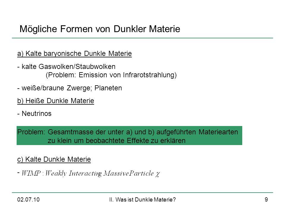 02.07.10II. Was ist Dunkle Materie?9 Mögliche Formen von Dunkler Materie a) Kalte baryonische Dunkle Materie - kalte Gaswolken/Staubwolken (Problem: E