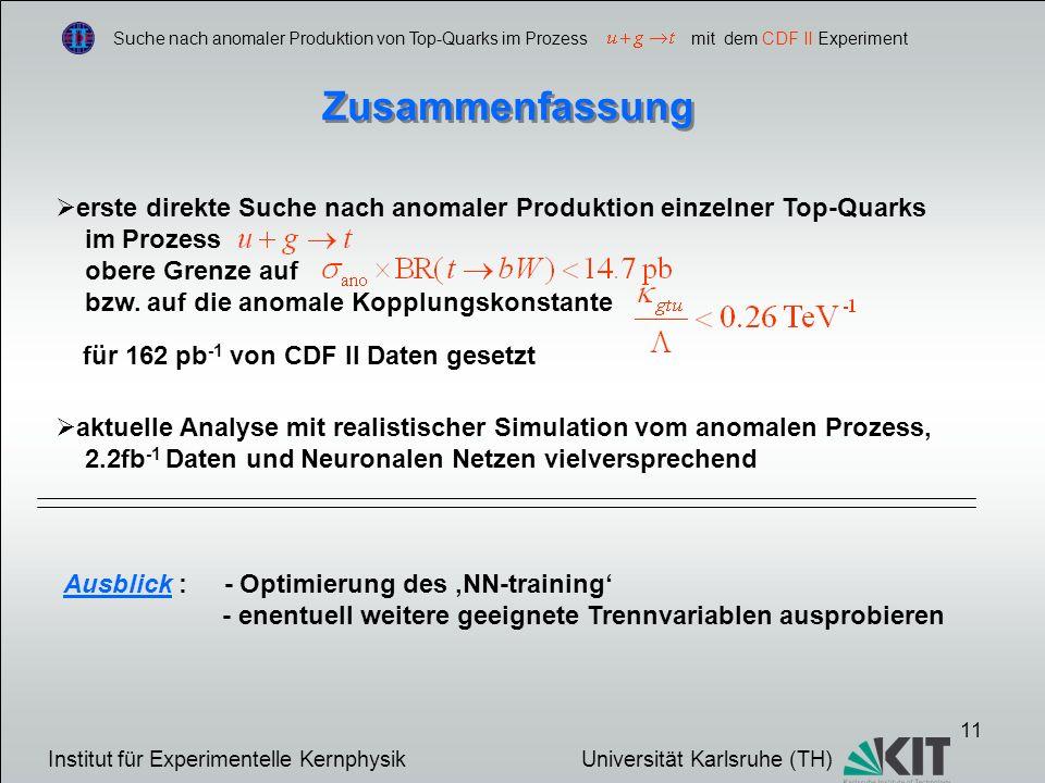11 Suche nach anomaler Produktion von Top-Quarks im Prozess mit dem CDF II Experiment Zusammenfassung erste direkte Suche nach anomaler Produktion einzelner Top-Quarks im Prozess obere Grenze auf bzw.