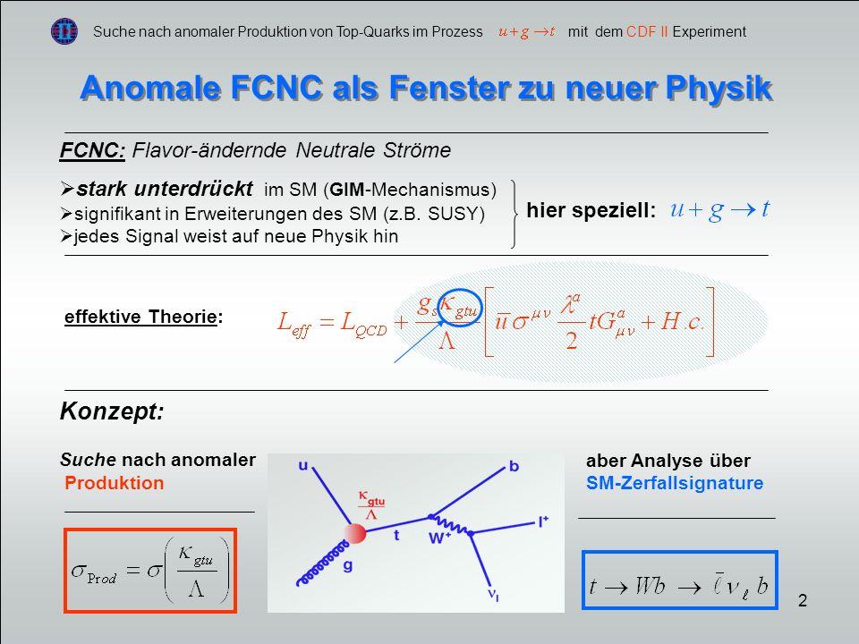 13 Suche nach anomaler Produktion von Top-Quarks im Prozess mit dem CDF II Experiment Anomale FCNC als Fenster zu neuer Physik const.