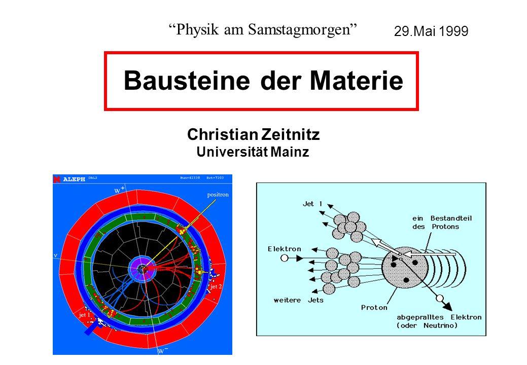 Eigenschaften von Quarks Teilchen Ladung Masse up +2/3 5 MeV/c² down -1/3 8 MeV/c² charm +2/3 1300 MeV/c² strange -1/3 170 MeV/c² top +2/3 175000 MeV/c² bottom -1/3 4200 MeV/c² Das top-Quark wurde erst 1994 am Fermi-National-Laboratory (USA) entdeckt .