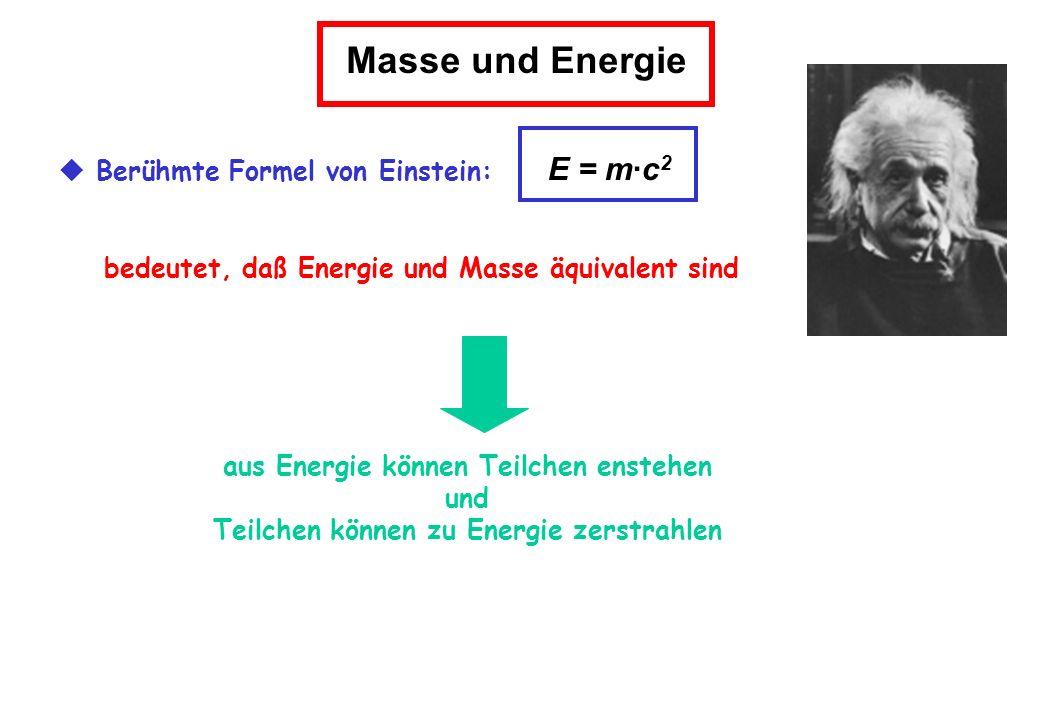Masse und Energie Berühmte Formel von Einstein: E = m·c 2 bedeutet, daß Energie und Masse äquivalent sind aus Energie können Teilchen enstehen und Tei