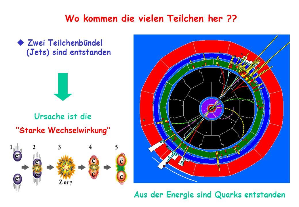 Wo kommen die vielen Teilchen her ?? Zwei Teilchenbündel (Jets) sind entstanden Ursache ist die Starke Wechselwirkung Aus der Energie sind Quarks ents