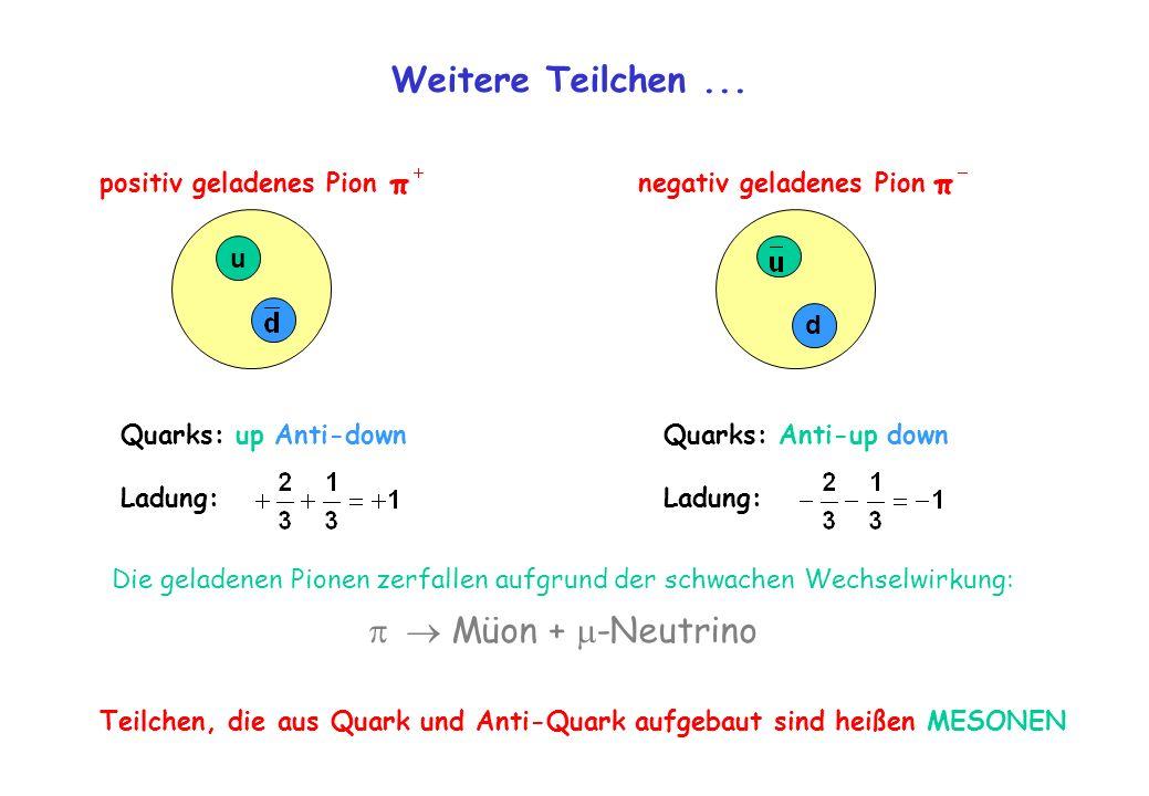 Weitere Teilchen... u Quarks: up Anti-down Ladung: positiv geladenes Pion Quarks: Anti-up down Ladung: negativ geladenes Pion d Teilchen, die aus Quar