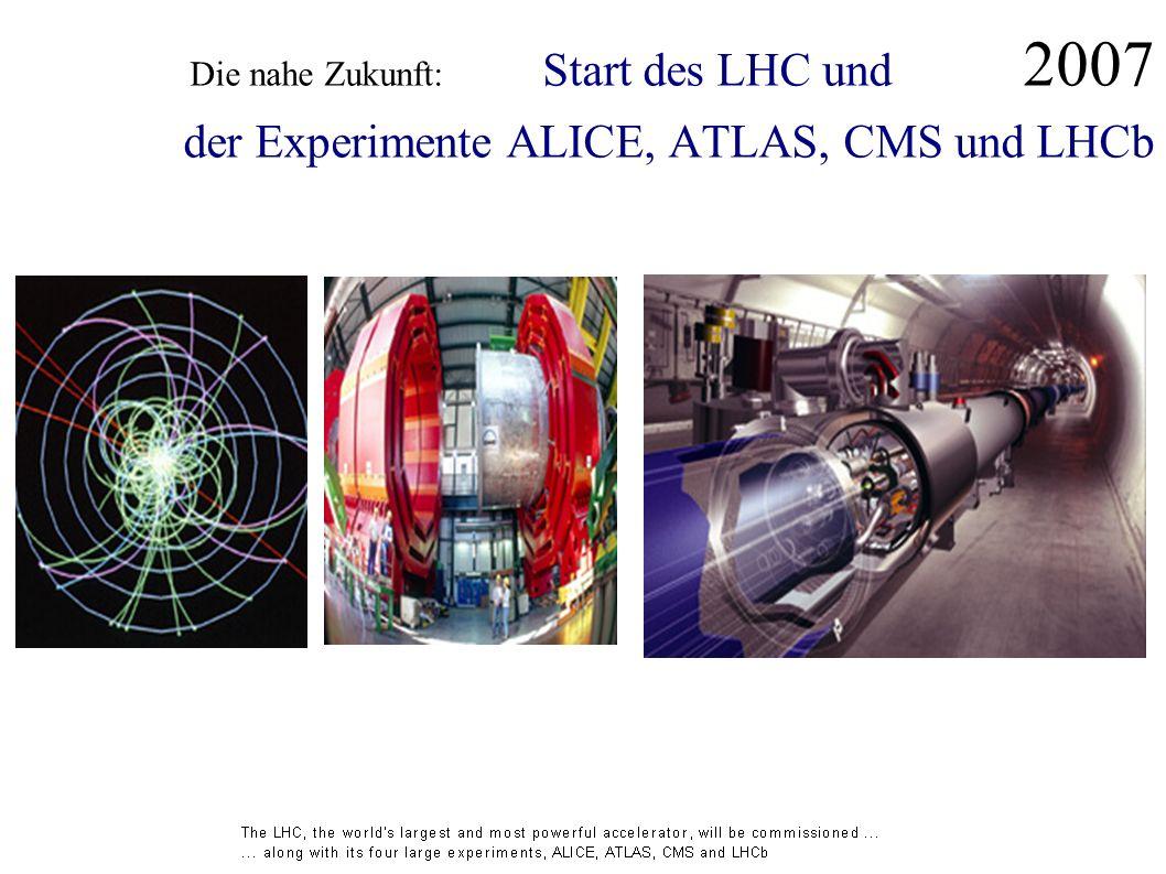 Die nahe Zukunft: Start des LHC und 2007 der Experimente ALICE, ATLAS, CMS und LHCb