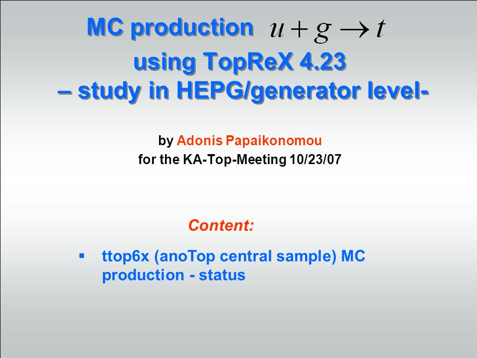 2 KA-Top-Meeting 10/23/07 IEKP Universität Karlsruhe (TH) Problems/solutions Gen6 simulation - status CAF/TORCAF submission fixed – alternative to FZK (SL4) found HEPG from TopNtuples better, but still not as expected Comparison to generator level: momenta check (lulist) event repetition: seems not to be the problem problem in the polarization after the PYTHIA parton showering within the framework, generator seems to be confused… decided to shower the TopReX files locally and then submit stdhep files (as for s-,t-channell and MC@NLO before), therefore needed madevt4 output-format this method did not show any changes in the polarization error found in cato setup, new method is fine.