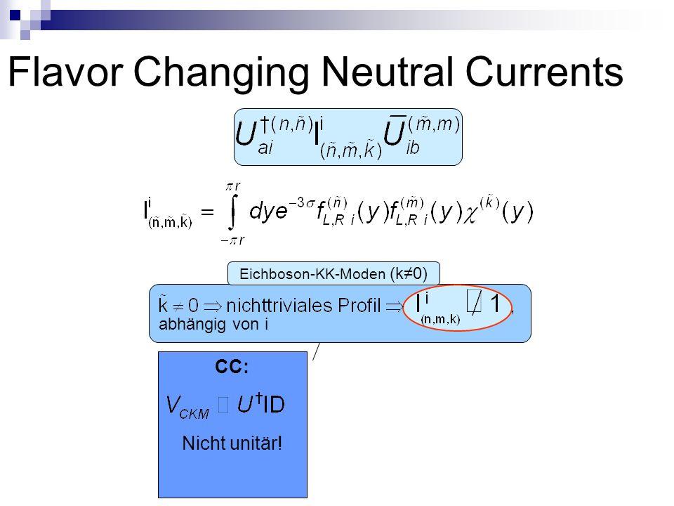 Flavor Changing Neutral Currents abhängig von i Eichboson-KK-Moden (k0) CC: Nicht unitär!