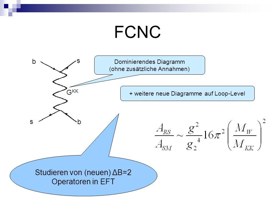 FCNC b s b s G KK + weitere neue Diagramme auf Loop-Level Dominierendes Diagramm (ohne zusätzliche Annahmen) Studieren von (neuen) ΔB=2 Operatoren in EFT