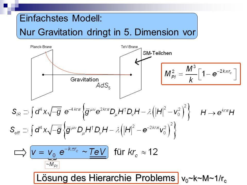 Einfachstes Modell: Nur Gravitation dringt in 5. Dimension vor Lösung des Hierarchie Problems v 0 ~k~M~1/r c Lösung des Hierarchie Problems v 0 ~k~M~1