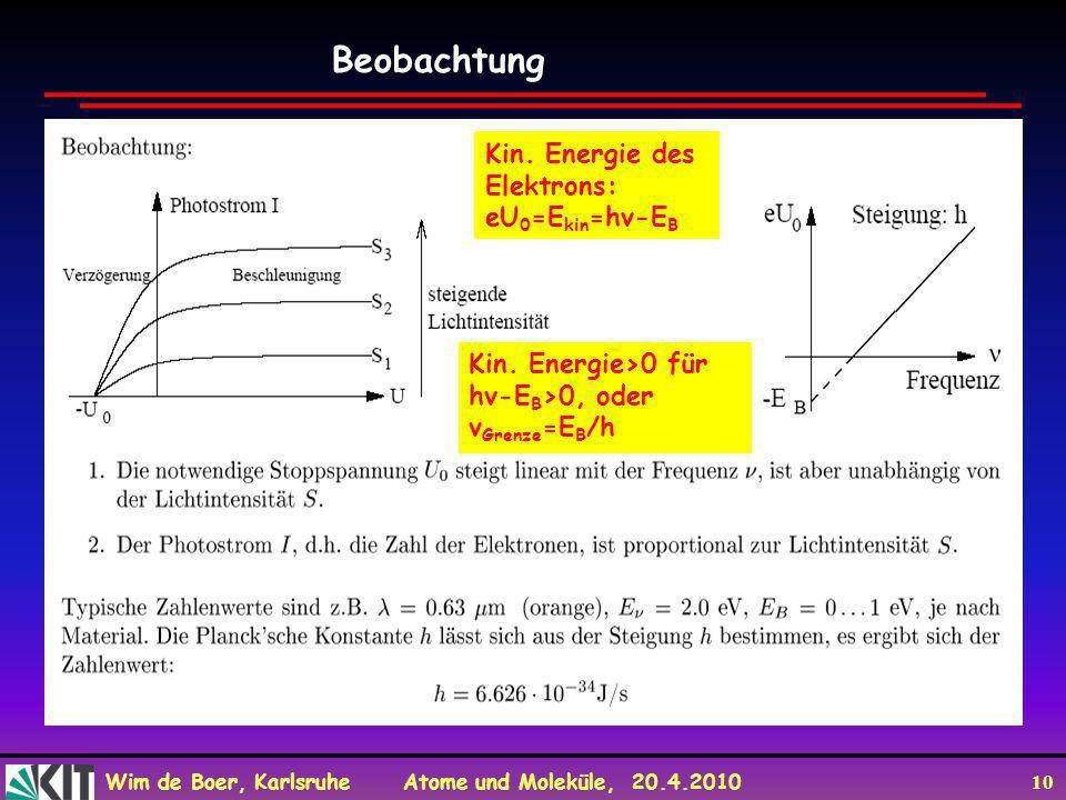 Wim de Boer, Karlsruhe Atome und Moleküle, 20.4.2010 10 Beobachtung Kin. Energie des Elektrons: eU 0 =E kin =hv-E B Kin. Energie>0 für hv-E B >0, oder