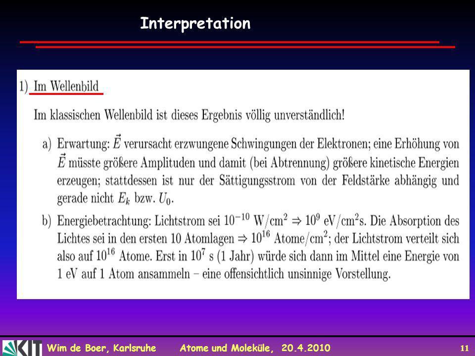 Wim de Boer, Karlsruhe Atome und Moleküle, 20.4.2010 11 Interpretation