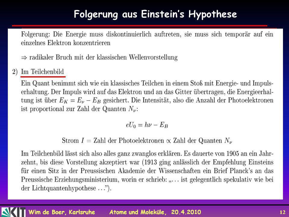 Wim de Boer, Karlsruhe Atome und Moleküle, 20.4.2010 12 Folgerung aus Einsteins Hypothese