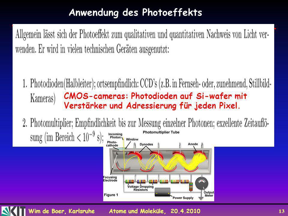 Wim de Boer, Karlsruhe Atome und Moleküle, 20.4.2010 13 Anwendung des Photoeffekts CMOS-cameras: Photodioden auf Si-wafer mit Verstärker und Adressier