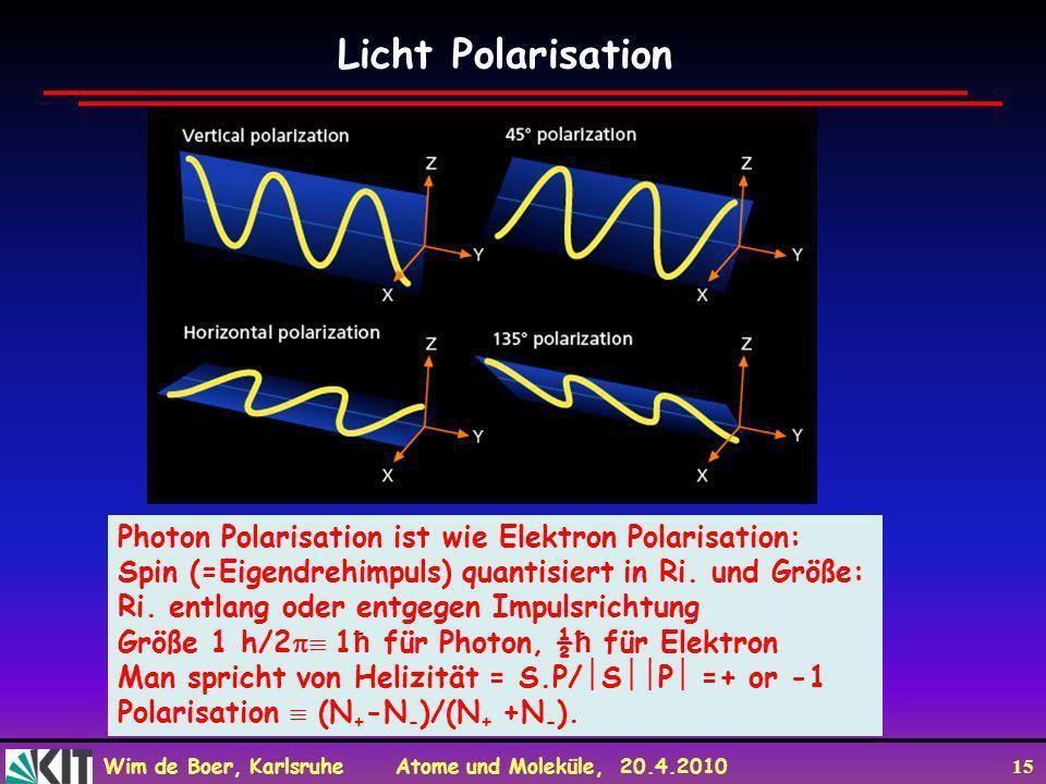 Wim de Boer, Karlsruhe Atome und Moleküle, 20.4.2010 15 Licht Polarisation Photon Polarisation ist wie Elektron Polarisation: Spin (=Eigendrehimpuls)