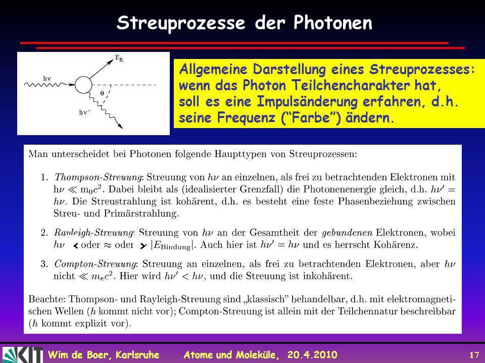 Wim de Boer, Karlsruhe Atome und Moleküle, 20.4.2010 17 Streuprozesse der Photonen Allgemeine Darstellung eines Streuprozesses: wenn das Photon Teilch