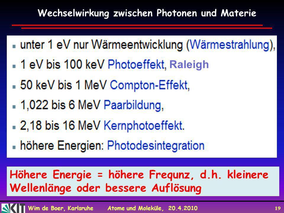 Wim de Boer, Karlsruhe Atome und Moleküle, 20.4.2010 19 Wechselwirkung zwischen Photonen und Materie Raleigh Höhere Energie = höhere Frequnz, d.h. kle