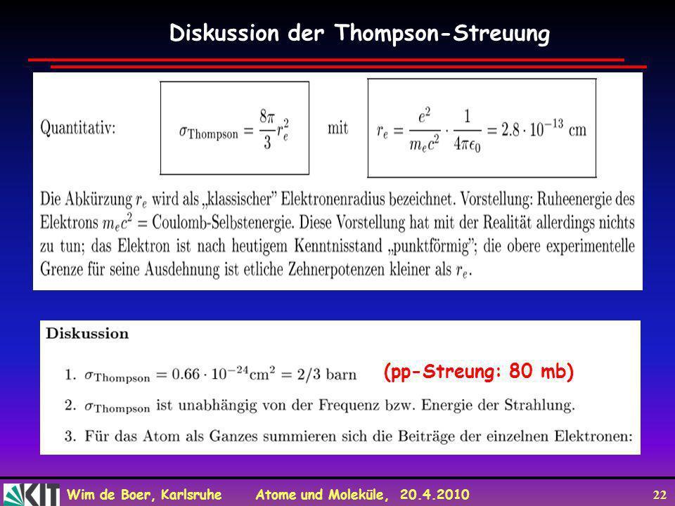 Wim de Boer, Karlsruhe Atome und Moleküle, 20.4.2010 22 Diskussion der Thompson-Streuung (pp-Streung: 80 mb)