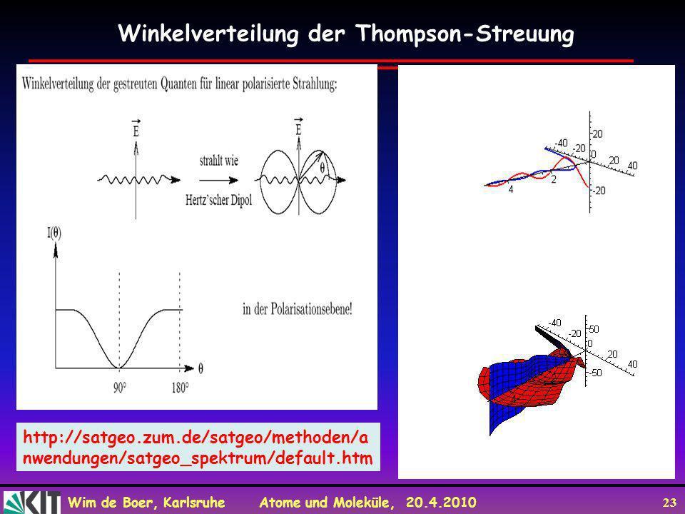 Wim de Boer, Karlsruhe Atome und Moleküle, 20.4.2010 23 Winkelverteilung der Thompson-Streuung http://satgeo.zum.de/satgeo/methoden/a nwendungen/satge