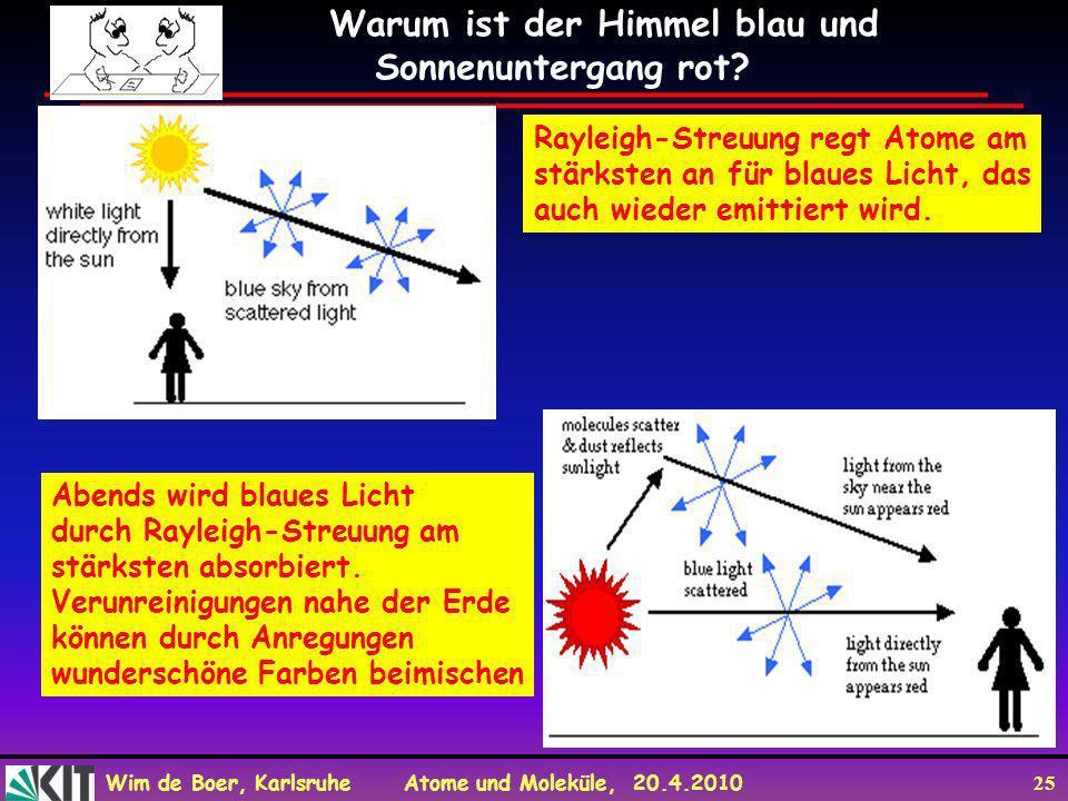 Wim de Boer, Karlsruhe Atome und Moleküle, 20.4.2010 25 Warum ist der Himmel blau und Sonnenuntergang rot? Rayleigh-Streuung regt Atome am stärksten a