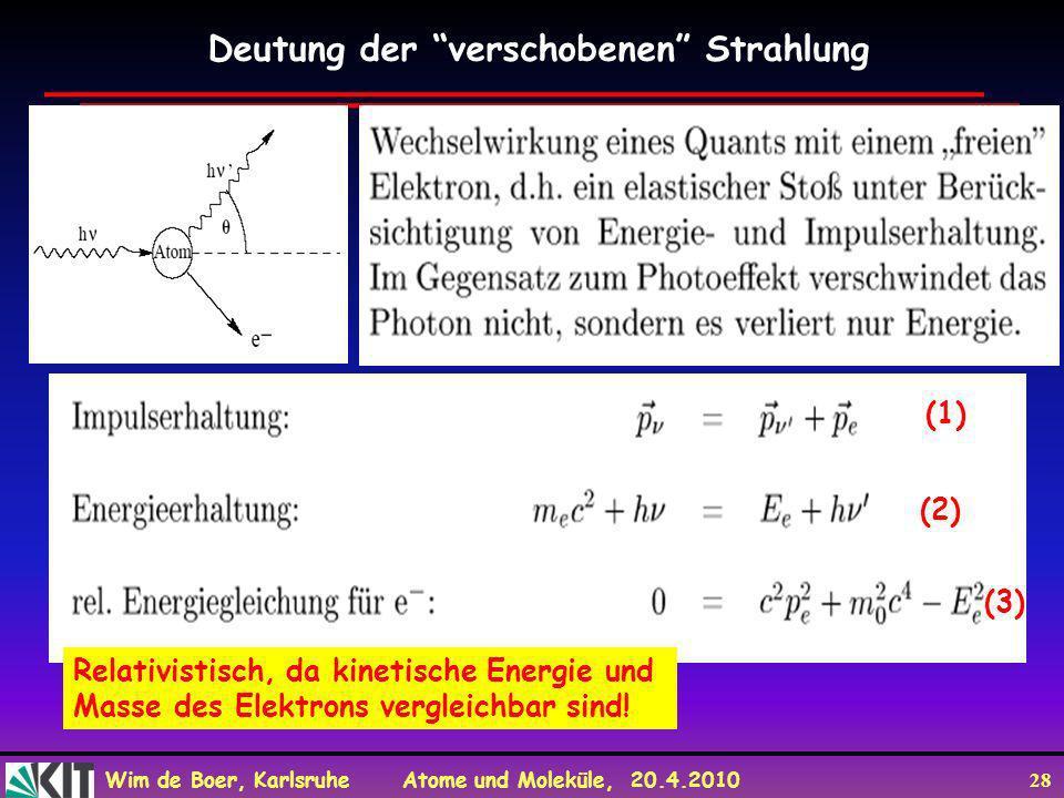 Wim de Boer, Karlsruhe Atome und Moleküle, 20.4.2010 28 Deutung der verschobenen Strahlung Relativistisch, da kinetische Energie und Masse des Elektro