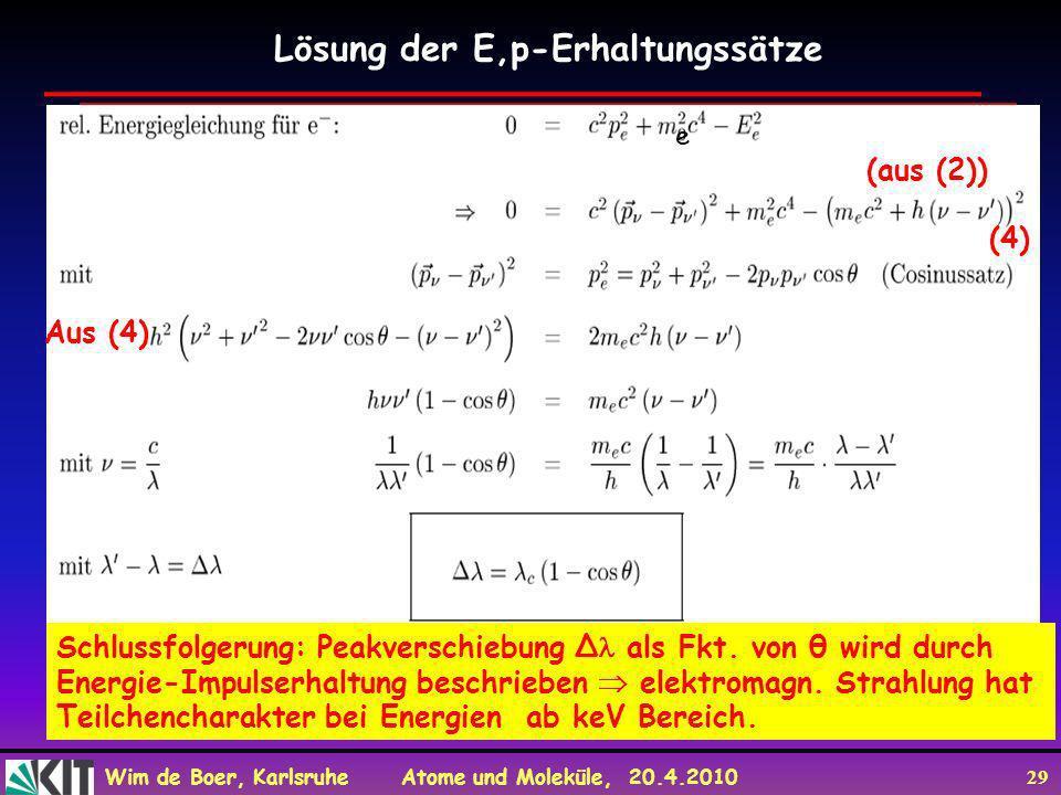 Wim de Boer, Karlsruhe Atome und Moleküle, 20.4.2010 29 Lösung der E,p-Erhaltungssätze Schlussfolgerung: Peakverschiebung Δ als Fkt. von θ wird durch
