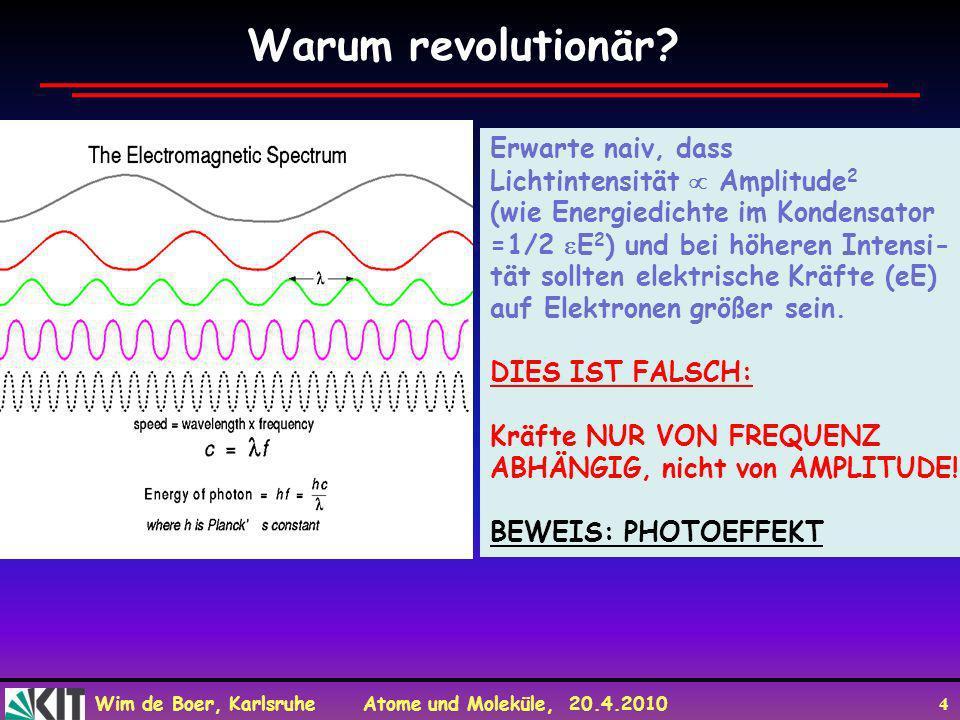 Wim de Boer, Karlsruhe Atome und Moleküle, 20.4.2010 4 Warum revolutionär? Erwarte naiv, dass Lichtintensität Amplitude 2 (wie Energiedichte im Konden