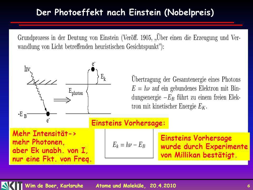 Wim de Boer, Karlsruhe Atome und Moleküle, 20.4.2010 6 Der Photoeffekt nach Einstein (Nobelpreis) Mehr Intensität-> mehr Photonen, aber Ek unabh. von