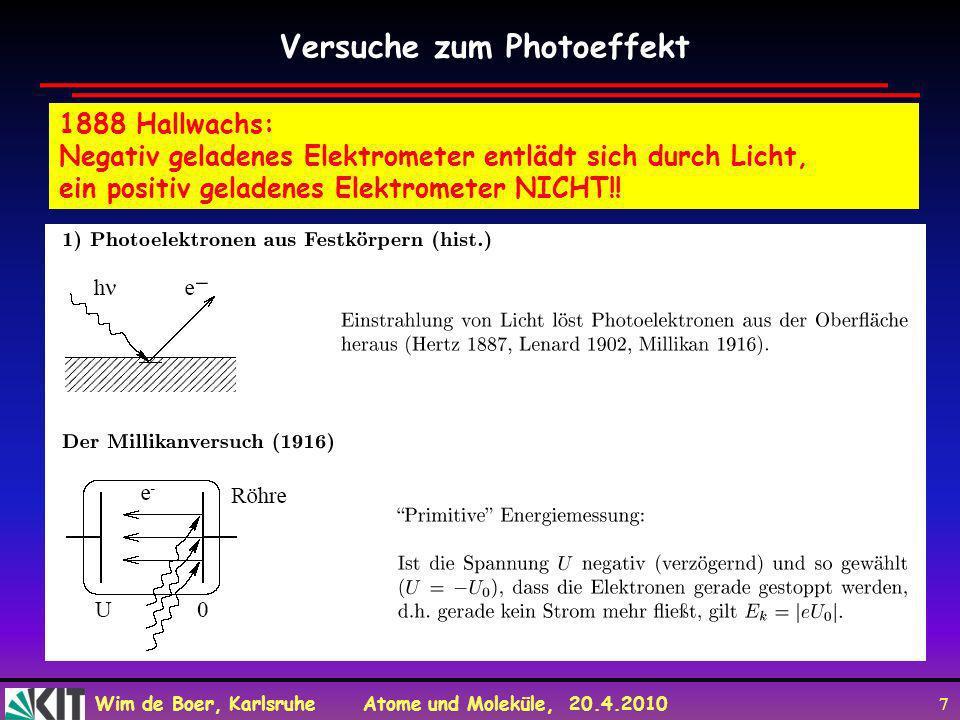Wim de Boer, Karlsruhe Atome und Moleküle, 20.4.2010 7 1888 Hallwachs: Negativ geladenes Elektrometer entlädt sich durch Licht, ein positiv geladenes