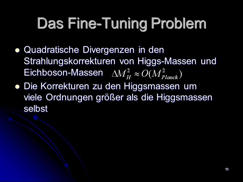 10 Das Fine-Tuning Problem Quadratische Divergenzen in den Strahlungskorrekturen von Higgs-Massen und Eichboson-Massen Quadratische Divergenzen in den