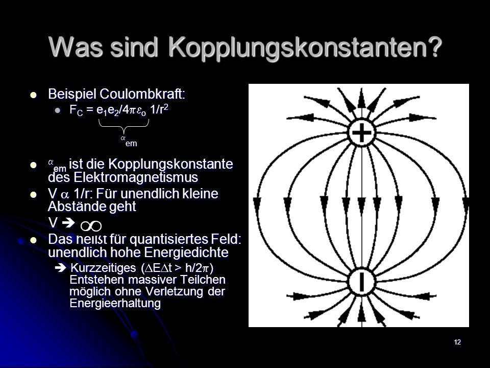 12 Was sind Kopplungskonstanten? Beispiel Coulombkraft: Beispiel Coulombkraft: F C = e 1 e 2 /4 o 1/r 2 F C = e 1 e 2 /4 o 1/r 2 em em em ist die Kopp