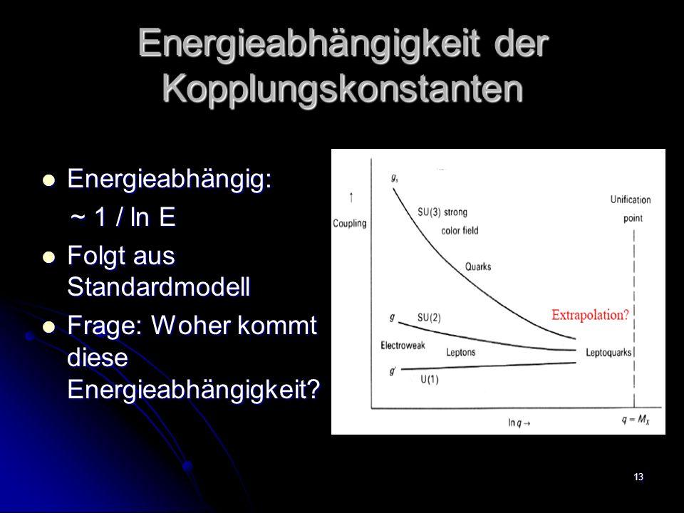 13 Energieabhängigkeit der Kopplungskonstanten Energieabhängig: Energieabhängig: ~ 1 / ln E ~ 1 / ln E Folgt aus Standardmodell Folgt aus Standardmode