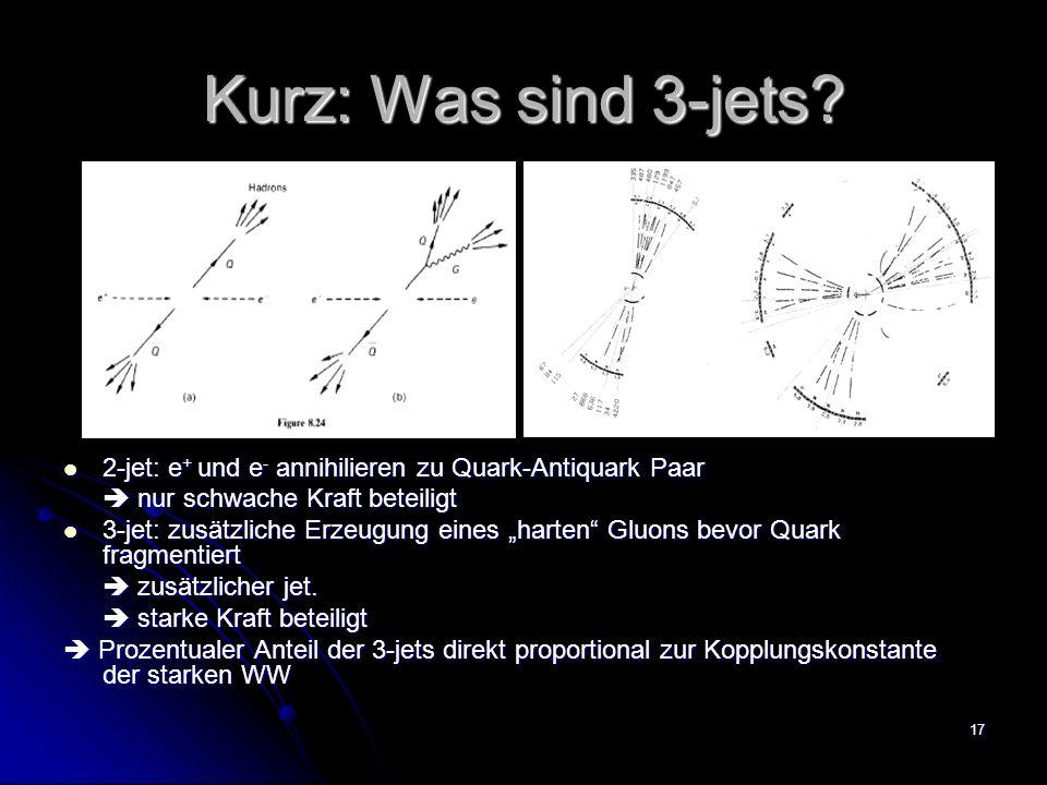 17 Kurz: Was sind 3-jets? 2-jet: e + und e - annihilieren zu Quark-Antiquark Paar 2-jet: e + und e - annihilieren zu Quark-Antiquark Paar nur schwache