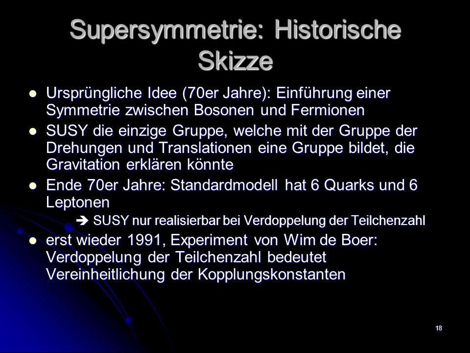 18 Supersymmetrie: Historische Skizze Ursprüngliche Idee (70er Jahre): Einführung einer Symmetrie zwischen Bosonen und Fermionen Ursprüngliche Idee (7