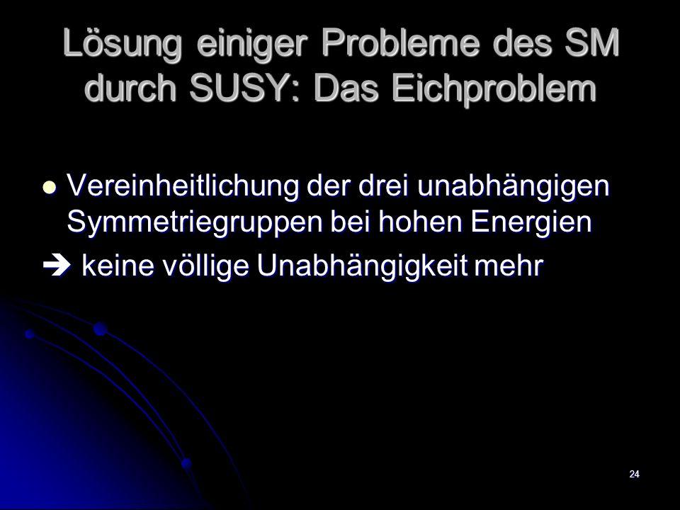 24 Lösung einiger Probleme des SM durch SUSY: Das Eichproblem Vereinheitlichung der drei unabhängigen Symmetriegruppen bei hohen Energien Vereinheitli