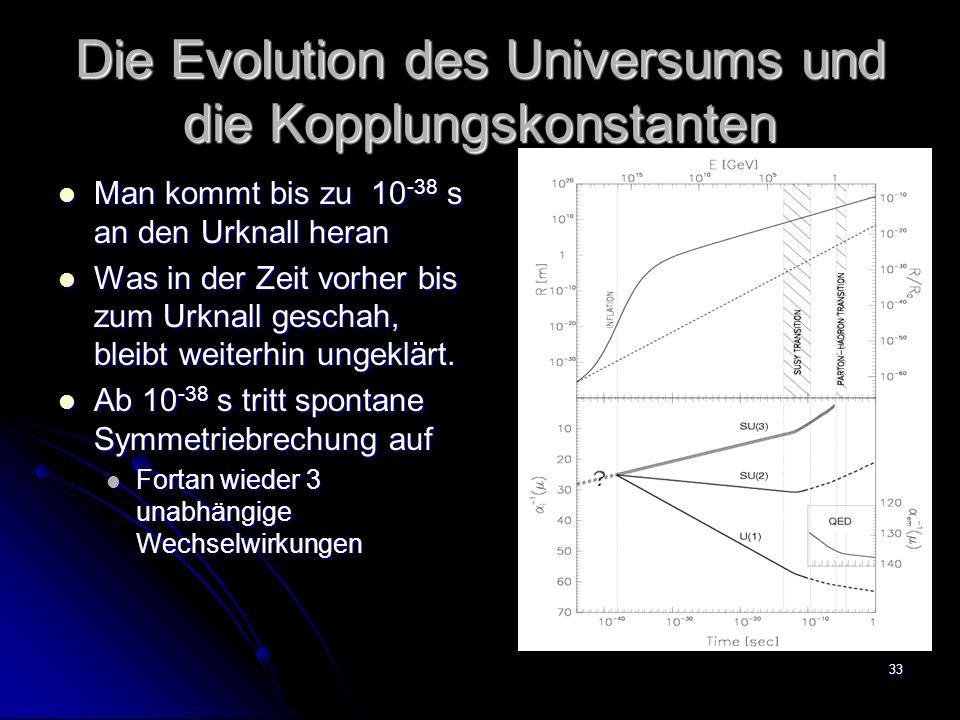 33 Die Evolution des Universums und die Kopplungskonstanten Man kommt bis zu 10 -38 s an den Urknall heran Man kommt bis zu 10 -38 s an den Urknall he