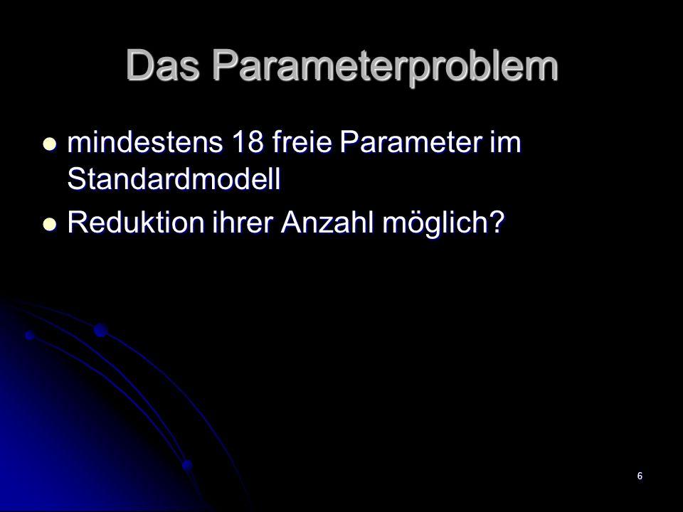 6 Das Parameterproblem mindestens 18 freie Parameter im Standardmodell mindestens 18 freie Parameter im Standardmodell Reduktion ihrer Anzahl möglich?