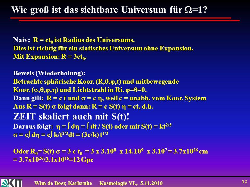Wim de Boer, KarlsruheKosmologie VL, 5.11.2010 12 Wie groß ist das sichtbare Universum für =1? Naiv: R = ct 0 ist Radius des Universums. Dies ist rich