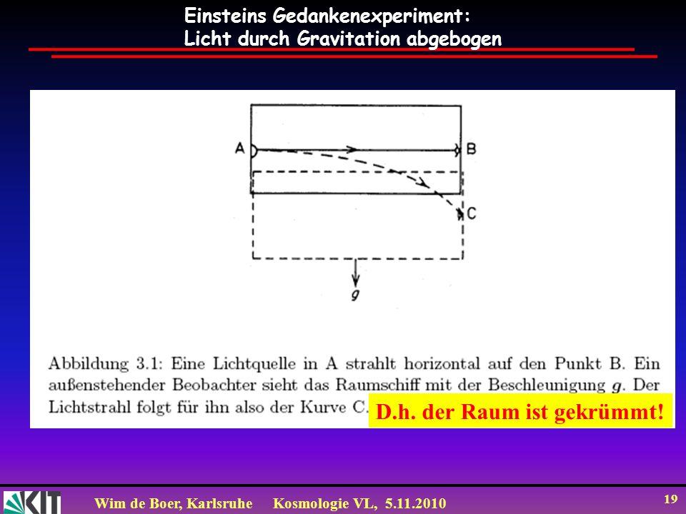 Wim de Boer, KarlsruheKosmologie VL, 5.11.2010 19 Einsteins Gedankenexperiment: Licht durch Gravitation abgebogen D.h. der Raum ist gekrümmt!