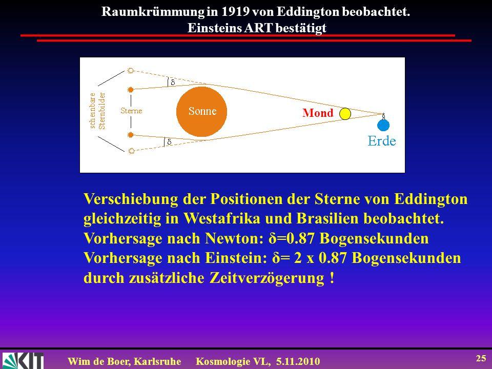 Wim de Boer, KarlsruheKosmologie VL, 5.11.2010 25 Raumkrümmung in 1919 von Eddington beobachtet. Einsteins ART bestätigt Verschiebung der Positionen d