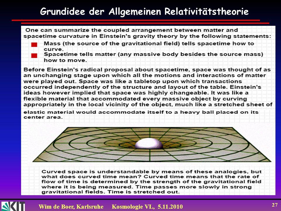 Wim de Boer, KarlsruheKosmologie VL, 5.11.2010 27 Grundidee der Allgemeinen Relativitätstheorie